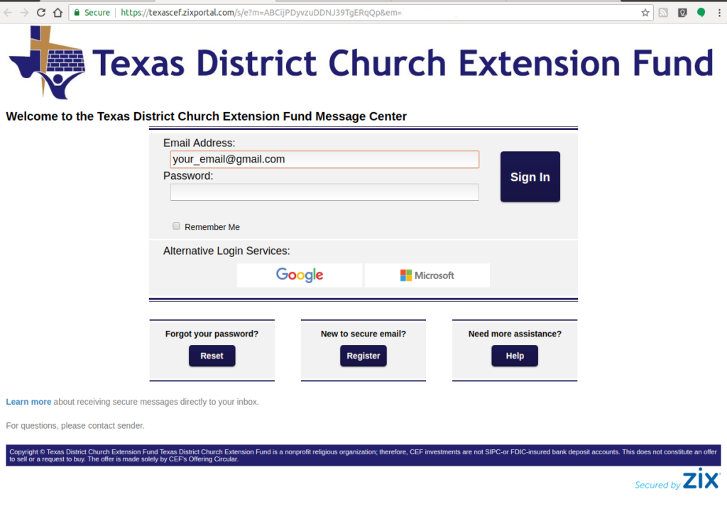 Zix Secure Email Reply Instructions – Texas District Church